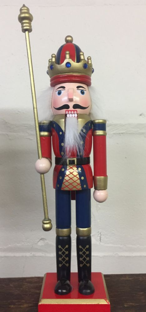 Hand Painted Wooden Nutcracker Traditional Christmas Ornament ~ Holding Staff
